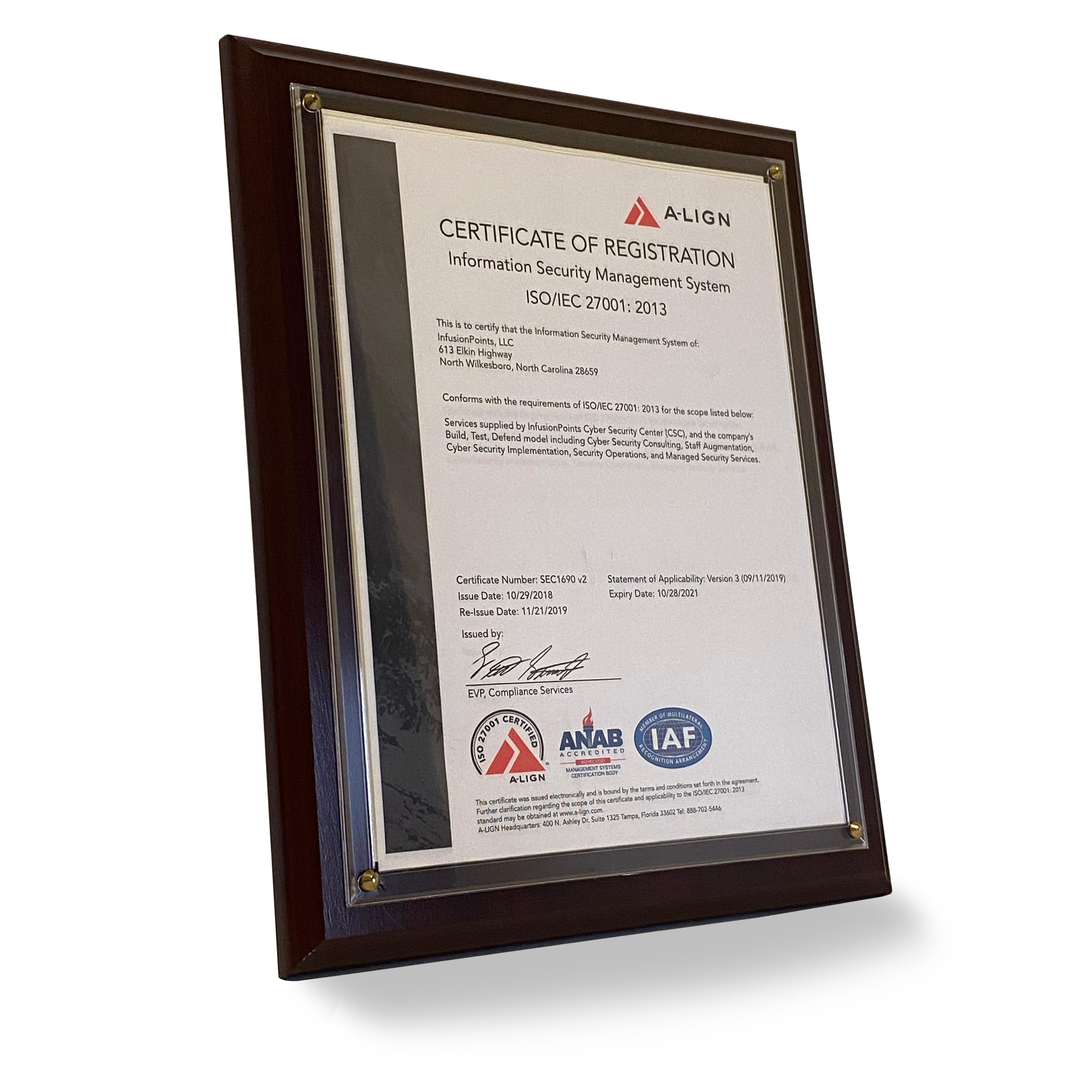 2018 A-LIGN Certification of Registration