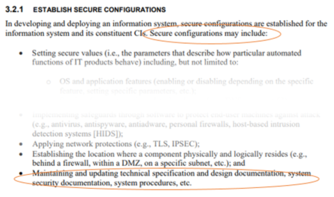 excerpt describing system documentation as a configuration item (CI) in NIST 800-128
