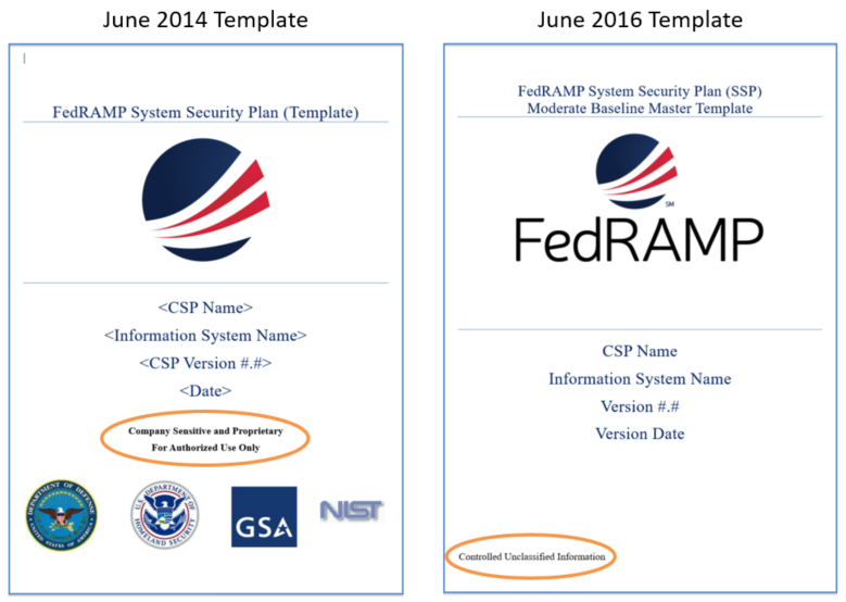 FedRAMP System Security Plan classification comparison from 2014 to 2016