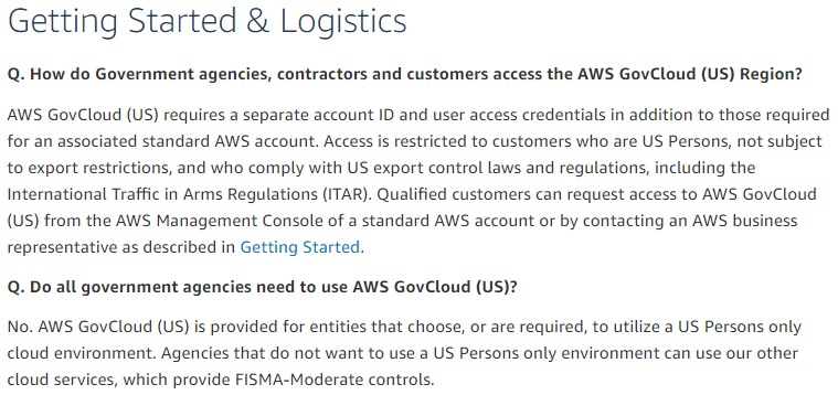 AWS GovCloud use of non-US Persons